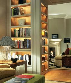 These illuminated bookshelves are the perfect addition to any home library. These illuminated bookshelves are the perfect addition to any home library. Sweet Home, Home Libraries, Home Library Rooms, European Home Decor, Men Home Decor, My New Room, Design Case, Home Fashion, Built Ins