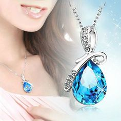 Silver Chain Crystal Rhinestone Pendant Necklace