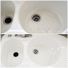 Whiten your stained porcelain sink with dishwasher detergent and a sponge.   31 Clever Ways To Clean All Of The Stubbornly Dirty Things