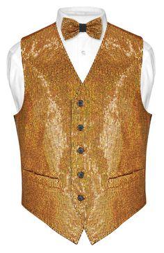 Vests And Bowties. Vest And Bowtie Sets For Men And Boys. Designer Clothes For Men, Designer Dresses, Dress Vest, Men Dress, Gold Vests, Vest And Bow Tie, Vest Outfits, Paisley Design, Men's Fashion