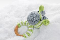 Natural Hardwood Crochet Teething Ring, Wood Teething Ring, Eco Baby Teethers, Montessori Toy, Zebra Teething Ring, Wooden Rattle toy by SweetyKnityShop on Etsy