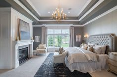 Master Bedroom Design Ideas, Pictures, Remodel & Decor with Carpet and Gray Walls