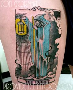 the hermit tarot card tattoo by jon gorman at providence tattoo  #providencetattoo #jongorman #thehermit #tattoo #tarot #tarotcard #tarottattoo #tarotcardtattoo #tattooartists #tattooideas