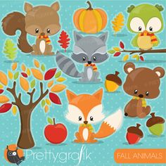 Fall woodland animals clipart set! This vector clipart set is suitable for invitation making , embroidery digitizing , scrapbook and all your crafting. Amazing clipart set with harvest pumpkin, leave, acorns, fox, racoon, bear, squirrel and so much more!