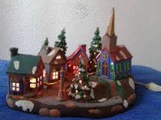 Resultado de imagen para como pintar casitas navideñas en ceramica