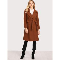 SheIn(sheinside) Tie Waist Double Breasted Coat (305 HRK) ❤ liked on Polyvore featuring outerwear, coats, long sleeve coat, tie waist coat, button coat, long coat and double breasted long coat
