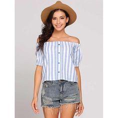 Stripes Off The Shoulder Buttoned Short Sleeve Tops