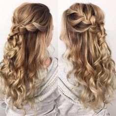 Beautiful waterfall braided half up half down hairstyle, wedding hair,half up half down hairstyles ,half up half down wedding hairstyles, wedding hair down hairstyle #weddinghairstyles #hairstyles #romantichairstyles #halfup #hairdown