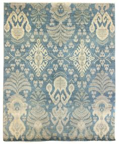 Suzani & Ikat Designs Gallery: Ikat Design Rug, Hand-knotted in Pakistan; size: 8 feet 2 inch(es) x 10 feet 1 inch(es)