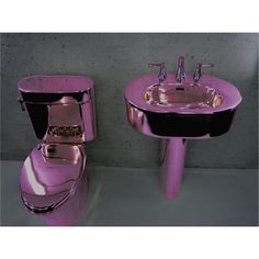 Purple bathroom - anodized like chrome... I wonder how they did that?