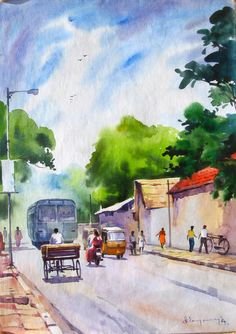 Awesome Water Color Painting Art by Elayaraja ~ chori-choriyaan चोरी-चोरियाँ Watercolor Landscape Paintings, Gouache Painting, Abstract Watercolor, Painting Art, Watercolor Drawing, Composition Painting, Long Painting, Indian Art Paintings, Simple Paintings