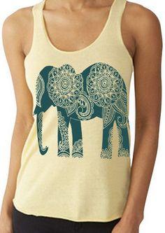 Boho Gypsy Ethnic Elephant Tank Top