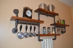 Industrial Pipe Spice Rack Four Shelf Unit With Hanging Bar And Hooks