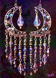 Sparkly Pink Crystal Celestial Chandelier Earrings by kerala