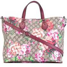 Gucci GG Supreme Blooms print tote ($1,350) ❤ liked on Polyvore featuring bags, handbags, tote bags, gucci tote bag, leather purses, monogram tote, monogrammed tote bags and gucci handbags