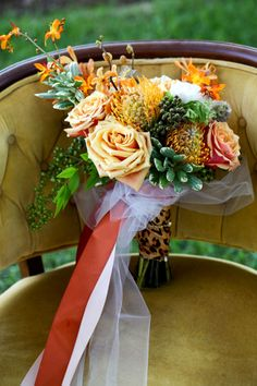 Rustic Peach Hue Wedding Bouquet | Glamorous Southern Wedding With Rustic Touches Dripping In Lush Peach Hues  | Photograph by Amy Clifton Keely Photography  http://storyboardwedding.com/glamorous-southern-wedding-rustic-touches-dripping-lush-peach-hues/
