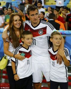 FIFA World Cup 2014 - Germany's Miroslav Klose with his wife Sylwia Klose and their twin sons, Noah Klose and Lu...