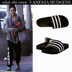 Vanessa Hudgens in grey cardigan, black Adidas sweatpants, stripe Adidas Adilette slippers with grey VS gym bag Want Her Style #vanessahudgens #fashion #workoutclothes