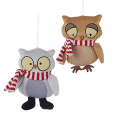 Christmas Decorations Premier 30cm Button Leg Plush Owls 2