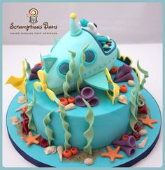 Octonauts Birthday Cake - 8 Chocolate Fudge Cake with Submarine Cake Topper... back view!