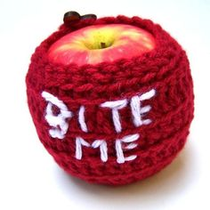Bite Me Apple Jacket Cozy handmade by KnotworkShop on Etsy, $12.00