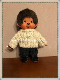 Pull à côtes fait main pour Kiki ou Monchhichi, tricot, handmade, knitting, vêtement, poupée