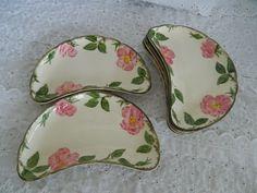 6 VTG Franciscan Earthenware Desert Rose Crescent Salad Plates Bone / Side Dish