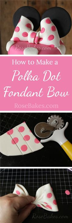 How to Make a Polka Dot Fondant Bow RoseBakes