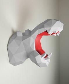 Wandtrophäe Hippo Papier Papertrophy