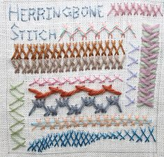 Embroidery stich samples - Herringbone Stitch sampler by flossbox