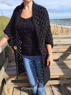 Easy Crochet Sweater Pattern for Women, Simple Cardigan Pattern, Onyx Duster Cardigan, Crochet Women's Fashion, Long Sweater for Women Crochet Poncho Patterns, Crochet Coat, Crochet Shawls And Wraps, Easy Crochet, Crochet Clothes, Crochet Shrugs, Crochet Vests, Crochet Sweaters, Granny Square Sweater