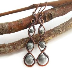 Copper wire wrapped earrings with Kambaba Jasper  http://kissedbyclover.com/collections/bohemian-earrings/products/wire-wrapped-jasper-earrings-earthy-earrings-bohemian-earrings-copper-wire-earrings-wire-wrapped-jewelry-boho-earrings-boho-jewelry
