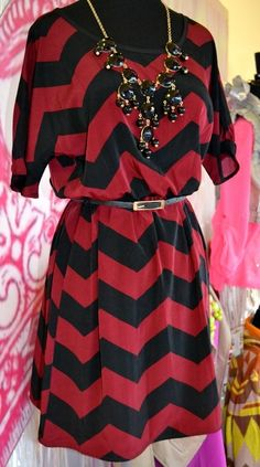 Red and black chevron. Game day dress!