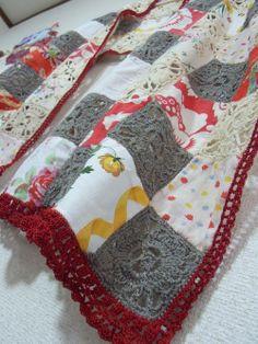 fabric & crochet motif shawl
