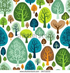stock vector : Seamless retro tree autumn pattern wallpaper with forrest illustration in vector