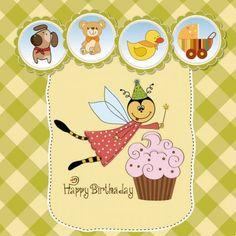 Cute cartoon style children's card design vector Fairy Invitations, Custom Invitations, Birthday Invitations, Birthday Cards, Birthday Wishes, Happy Birthday, Maria Jose, Kids Vector, Vector Free