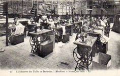 The photo shows a room full of Cornely embroidery machines. The Cornely machine was invented in 1868 by Antoine Bonnaz of Paris. Chain Stitch Embroidery, Embroidery Stitches, Machine Embroidery, Embroidery Ideas, Embroidered Silk, Latest Discoveries, Sewing, Postcards, Industrial