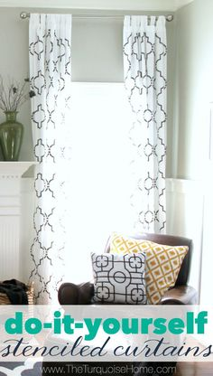 This is such a cheap way to make a huge impact. Similar curtains retail for $200 PER PANEL! But you can make them for less than $100 for two panels including the stencil! I made four panels, so my cost came out to less than $30 per panel. So worth it! And everyone always wants to know where they came from!   Details at TheTurquoiseHome.com