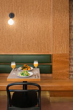 Cherry wood and cork feature in Manhattan bakery by GRT Architects Modern Interior, Interior Architecture, Woods Restaurant, Bar Stool Seats, Public Space Design, Green Cabinets, Built In Furniture, Restaurant Interior Design, Restaurant Interiors