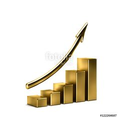 """Download the royalty-free photo """"3d Business Growth Bar Graph Curve. Wealthy Concept in Golden Me"""" created by Fotolia365 at the lowest price on Fotolia.com. Browse our cheap image bank online to find the perfect stock photo for your marketing projects!"""