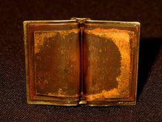 Brown Book Pin [metal brooch] foldformed jewelry for bibliophiles $36.00