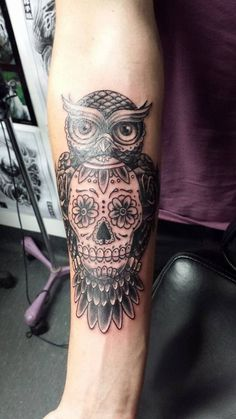 Sugar  Skull owl tattoo