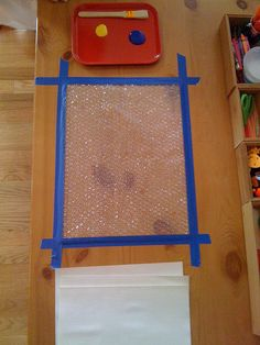 bubblewrap printing - tape bubblewrap down, paint on it, place paper on top to print