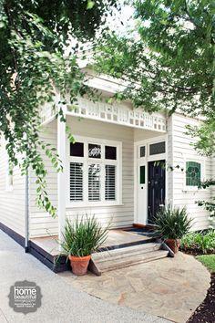 exterior trim to match front door. Then white around windows.