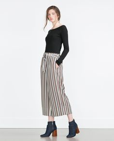 CROPPED FLOWING TROUSERS-Culottes-Trousers-WOMAN | ZARA United States
