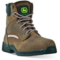 John Deere Women's Steel-Toe Hiking Boots (10.850 RUB) ❤ liked on Polyvore featuring shoes, boots, brown, laced boots, steel toe hiking boots, hiking boots, steel toe shoes and brown shoes