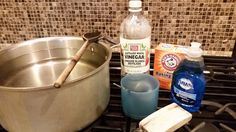 Here's what you'll need: Distilled white vinegar: 2/3 of a cup to 1cupBaking soda: 1/4 - 1/2 cup Dawn liquid soap (I used the classic, blue color): 3 tbsp Tap water: at least 1.5 gallons,depending on your pot