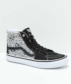 f624d5c52e8d Vans x Sketchy Tank Sk8-Hi Pro Reflective Black   White Skate Shoes  Checkered Vans
