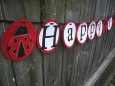 Lady bug Happy Birthday sign