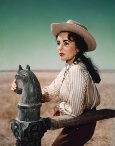 "GIANT (1956) - Elizabeth Taylor as ""Leslie Benedict"" of Riata Ranch - Based on novel by Edna Ferber - Produced & Directed by George Stevens - Warner Bros. - Publicity Still."